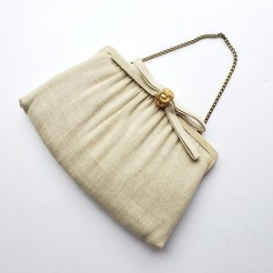 Vintage After Five linen clutch w bow & gold clasp